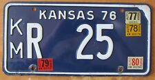 Kansas 1980 KINGMAN COUNTY License Plate # KM R 25