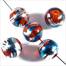 Lot de 20 perles en verre Décorées 10mm Rouge