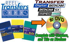 Convert  BetacamSX/Digi-Beta/MPEG IMX tape transfer to DVD