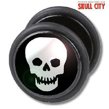 Skull Fakeplug-Faux piercing picture plug Boucles d'oreille-rockabilly tatouage punk