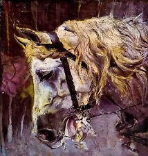 Oil painting giovanni boldini - wonderful animals white horse free shipping cost