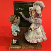 "CHILDREN SCHOOL FIGURINE VINTAGE BLACKBOARD A B C'S 7""H HAND DECORATED BOY GIRL"