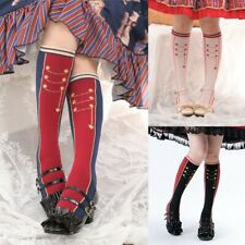 Girl Lolita Stockings Long Socks Cotton Striped Preppy Soldier Guard Cosplay Fit