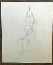 Original Female Nude Figure Life Drawing in Black Ink by Miriam Slater Signed