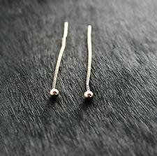 585 Russian Rose Gold 14k Pull Through Threader Drop Earrings