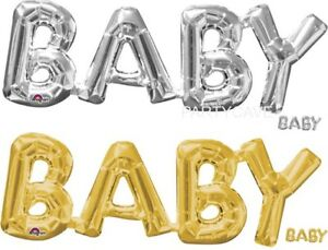 Baby Shower Party Gold Silver Letter Word Balloon Fill Christening Decorations