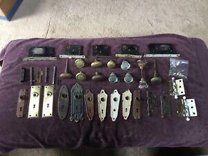 Vtg. Glass Door Knobs Face Plates Locks Hardware Mixed Lot Brass Industrial Art
