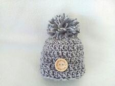 Hand Knit Chunky Newborn Pompom Hat