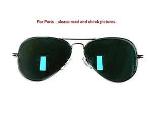 Ray-Ban RB3025 002/58 Aviator Sunglasses Black Green Polarized 58mm - For Parts
