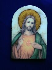 """SACRED HEART of JESUS GOLD FOIL WALL/STAND-UP PLAQUE 5""""W X 7""""H GIFT BOX   NEW"""