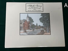 Signed Martin Barry Hand Colored Print Main Street Bel Air Maryland Church Town