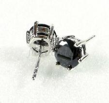 Men unisex New White Gold Plated 7mm Black CZ Cubic Zirconia Stud Earrings Pair