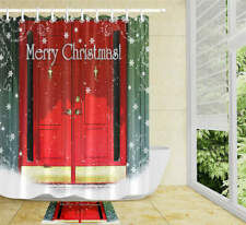 Happy Christmas Water Bathroom Polyester Shower Curtain Liner Water Resistant