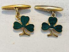 Vintage Enamel Shamrock Clover Leaf Cufflinks Gold Tone Marked Made In England