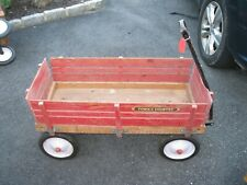 Vintage RADIO FLYER Town & Country Red Wooden Wagon Metal Pull Handle (2)