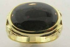 MENS 18K YELLOW GOLD BLOODSTONE SIGNET RING NEW SIZE 9