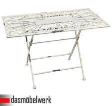 Clayre & Eef Tisch Gartentisch antik weiß 90x55 cm Klapptisch Metall Vintage WOW