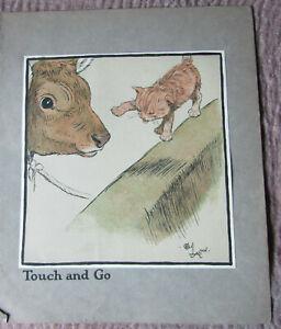 "Antique Print 1912 Cecil Aldin "" Touch and go "" from C Aldin's Happy Family...."