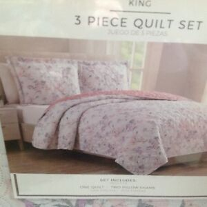 """King Size Bedspread / Quilt w Matching Shams """"Tanya""""  Floral Reversible NWT"""