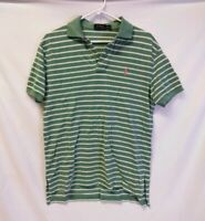 POLO Ralph Lauren Polo Shirt Men's SIZE MEDIUM Mint Green White Striped Cotton