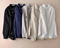 Mens Linen Cotton Long Sleeve Slim Fit Shirts Thin Sunscreen Travel Shirts New