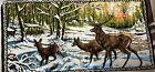"""VINTAGE Buck Deer TAPESTRY LARGE WALL HANGING RUG WILDLIFE SCENE 39"""" x20"""" Italy"""