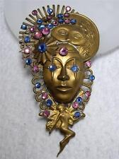 RARE~Vintage Signed JACK SMILE Brass & Crystal Rhinestone Figural Pin Brooch #1
