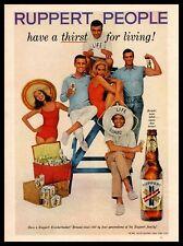 1960 Ruppert Knickerbocker Beer Life Guard Man Biceps Woman In Swimsuit Print Ad