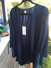 NWT Modesce Tunic Top Lisa XL Blue Handpainted Rayon