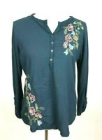Sonoma Women's Size L Floral Embroidered Teal Henley Top Roll Tab Sleeves Casual