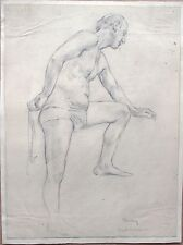 Elspeth Buchanan (1915-2011) Life drawing of a standing male. Signed. 1930's