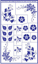 Rub 'n' Etch Glass Etching Stencil  ~ Floral Corners