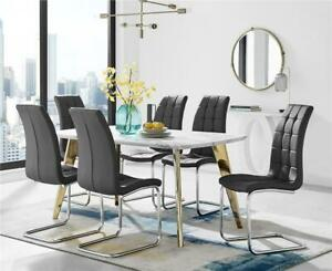 Andria Contemporary Gold Leg Marble Effect Dining Table and  6 Murano Chairs