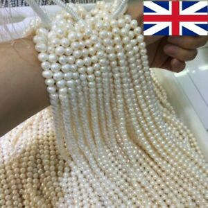 15'' White Freshwater Natural Real Pearl Loose Beads 4/5/6/7/8/9/10/12/13mm UK