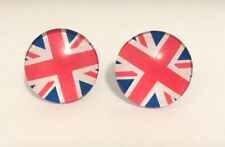Large Round Travel Union Jack Print Glass Clip On Stud Earrings Free Shipping