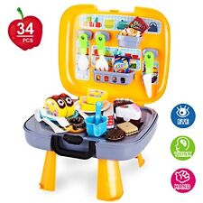 Kitchen Playset Toys 34 PCS Pretend Play Toys of Food Cutting and Cooking for...