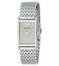 RARE Ladies Emporio Armani Diamond Hour Marker Watch & Mesh Steel Band AR3112