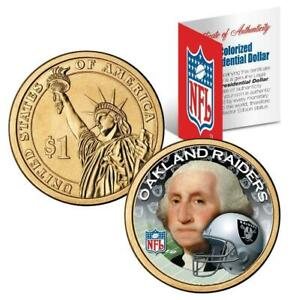 Oakland Raiders NFL Colorized Presidential Dollar - New