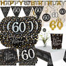 Happy 60th Birthday BLACK GOLD Sparkles Party Range Decorations Banners - AGE 60
