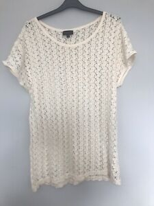 Top Shop Cream Lace Short Sleeved Top, Size 12