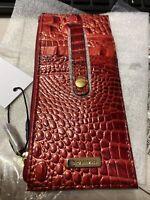 BRAHMIN LAVA  MELBOURNE Crocodile Card Tower Wallet Credit Card Holder
