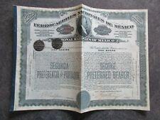 MEXIQUE action des CHEMINS de FER année 1910 complète avec coupons lot DA44 45