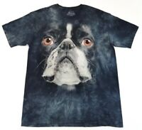 Boston Terrier Face Tee The Mountain Tie Dye Size XL Adult T Shirt