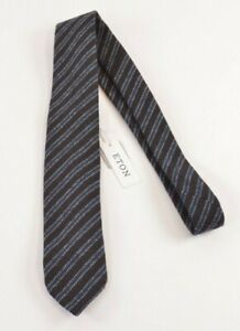 Eton NWT Silk Neck Tie In Brown Teal & White Stripes 100% Wool