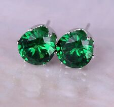 BOXED GIFT 8mm Emerald Green Paste Silver Crystal Stud Earrings PRESENT UK