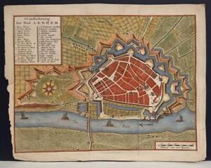 ARNHEM NETHERLANDS 1820ca ANONYMOUS ANTIQUE ORIGINAL COPPER ENGRAVED CITY MAP