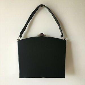 Vintage Handbag Black 50s 60s Retro Silver Hardware