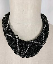 Anthropologie Black Multi-Strand Faceted Bead Rhinestone Statement Necklace