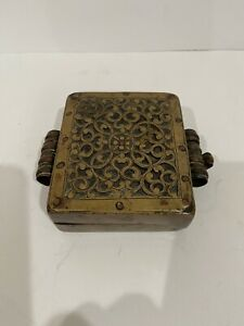 Antique Tibetan Tibet Buddhist Pierced Copper And Brass Gau Box No Reserve!