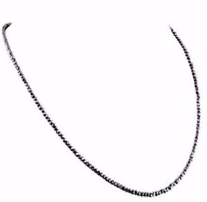 Black Diamond Necklace.AAA.Certified  3mm 22''  AAA quality Earth mined